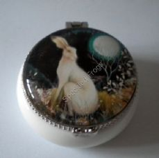 Mystic Knight, A pretty little white ceramic trinket boxes, designed by Amanda Clark.